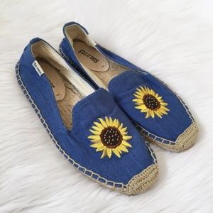 Soludos Blue Sunflower Espadrille Slide On Shoes